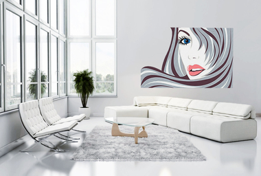 Наклейка девушка с волосами картина