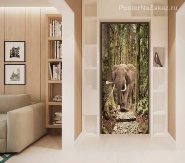 Наклейка Слон в лесу