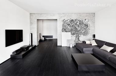 Наклейка Черно-белое дерево узор