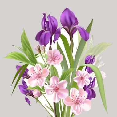 Наклейка Букет весенних цветов