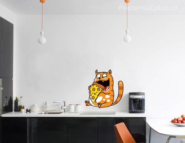 Наклейка Кот-обжора