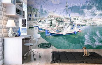 Фотообои Рыболовные суда в порту Ликсури