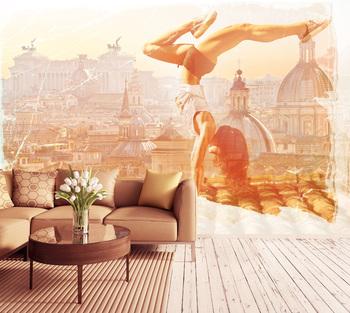 Фотообои Гимнастка на крыше
