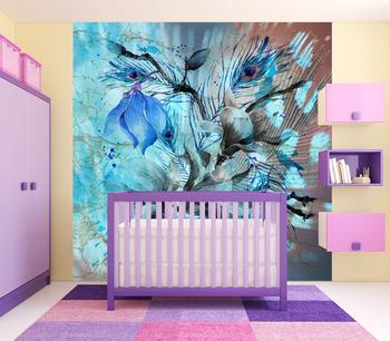 Фотообои Голубые акварельные цветы