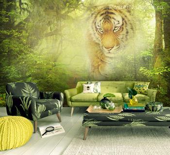 Фотообои Тигр в джунглях
