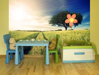 Фотообои на стену Солнечный луг с ромашками и одуванчиками