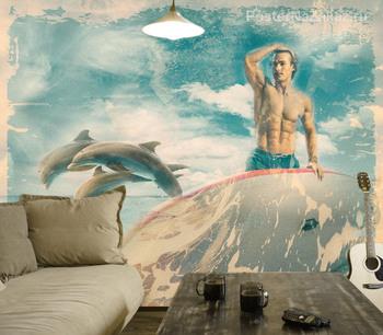 Фотообои Сёрфинг и дельфины