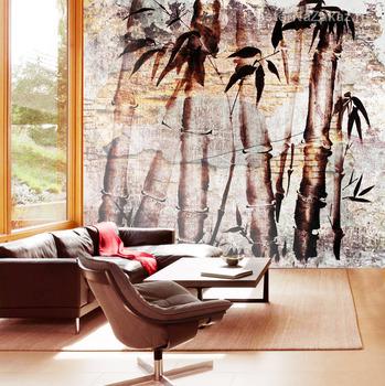 Фотообои Бамбук  и кирпичная текстура