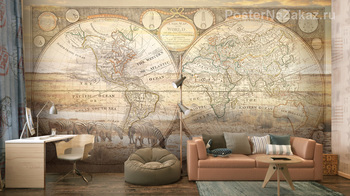 Фотообои Рисунок карты мира
