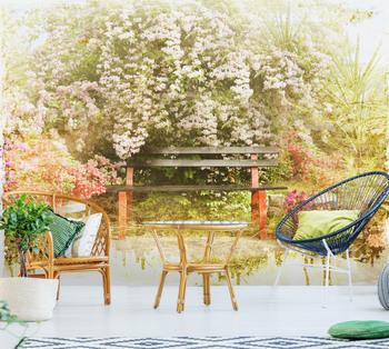 Фотообои Лавочка в саду